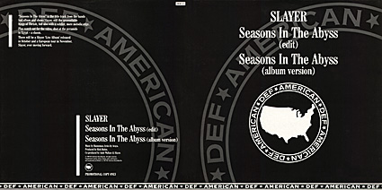 cover of Slayer's Seasons In The Abyss UK promo 12""